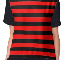 Red/Black Stripes Chiffon Top