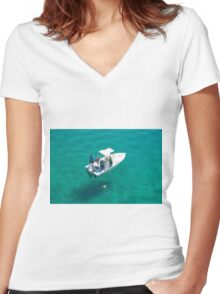 """""""Four fishermen, one catch"""" Women's Fitted V-Neck T-Shirt"""