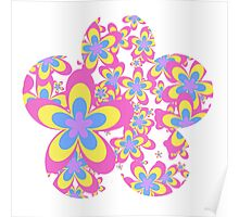 Flower Power, Cascade of Colorful Flowers Poster