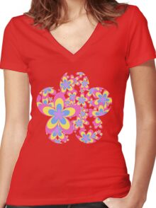 Flower Power, Cascade of Colorful Flowers Women's Fitted V-Neck T-Shirt