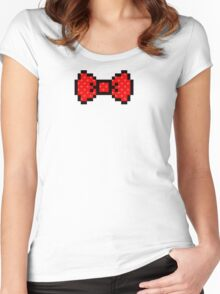 8 bit bow tie Women's Fitted Scoop T-Shirt