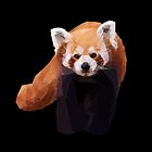 Red Panda Low Poly Geometric Triangles, Endangered Animal Art by aegisdesigns