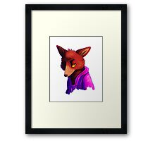 Retro Purple/Blue Pyro Fox Framed Print