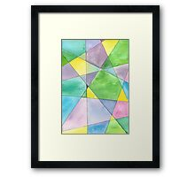 Mosaic in Blue, Green, Yellow and Purple Framed Print