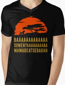 BAAAAAAAAAAAAA SOWENYAAAAAAAAAA MAMABEATSEBABAH African Lion T Shirt Mens V-Neck T-Shirt
