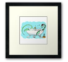 Plesiosaur in the bath Framed Print
