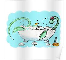 Plesiosaur in the bath Poster