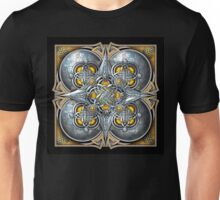 Celtic Hearts Tapestry in Silver and Yellow Unisex T-Shirt