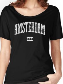 Amsterdam (White Print) Women's Relaxed Fit T-Shirt