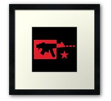 Red computer gamer digital machine gun Framed Print
