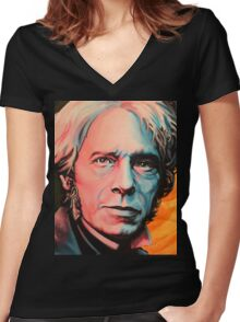 """""""Magnetic Moment"""" Portrait of Michael Faraday Women's Fitted V-Neck T-Shirt"""