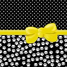 Ribbon, Bow, Dog Paws, Polka Dots - White Black Yellow by sitnica