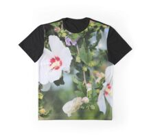 White Hibiscus Blossoms Graphic T-Shirt