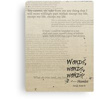Hamlet: Words, Words, Words Canvas Print