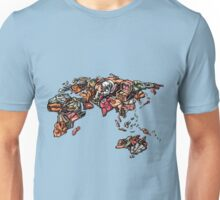 Woman Lays Out Clothes in World Map Unisex T-Shirt