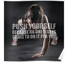 Push Yourself (Women's Fitness Motivation) Poster