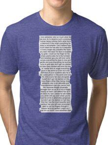 Sebastian Stan Paragraph Design Tri-blend T-Shirt