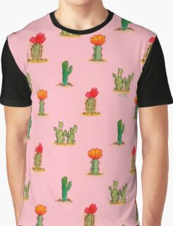 Watercolor Cacti on Pink Graphic T-Shirt