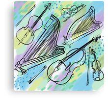 Strings in blues, greens, purples Canvas Print