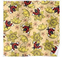 Flowers and Ladybugs Poster