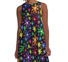 Colorful Retro Flowers on Black A-Line Dress