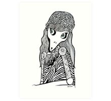 Skull Cap Girl  Art Print