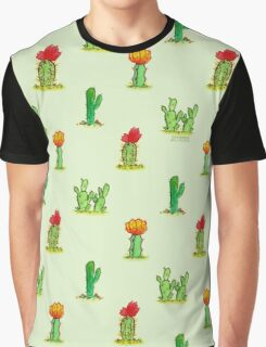 Watercolor Cacti on Green Graphic T-Shirt