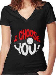 pokemon i choose you Women's Fitted V-Neck T-Shirt