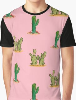 Cactus Watercolor Pattern on Pink Graphic T-Shirt