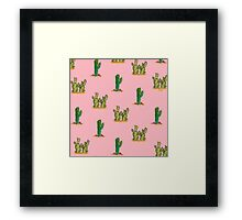 Cactus Watercolor Pattern on Pink Framed Print