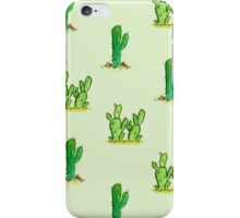 Cactus Watercolor Pattern on Green iPhone Case/Skin