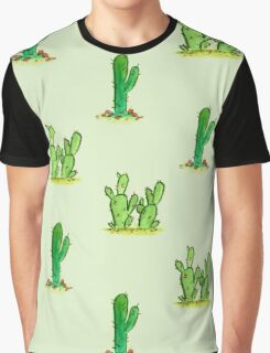 Cactus Watercolor Pattern on Green Graphic T-Shirt
