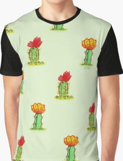 Colorful Cactus in Green Graphic T-Shirt