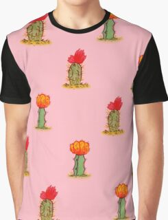 Colorful Cactus in Pink Graphic T-Shirt
