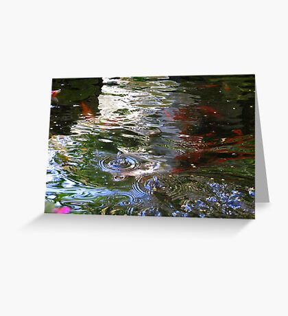 Feeding Frenzy at the Coy Pond Greeting Card