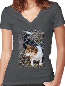 Behind the Fence Women's Fitted V-Neck T-Shirt