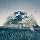 Finka ruin in Southern France with surreal moonrise by paulgrand