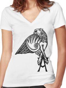 Buffy- angel's tattoo (black) Women's Fitted V-Neck T-Shirt