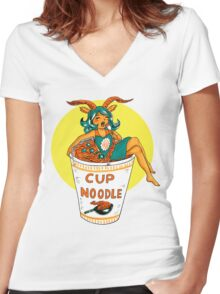 Ms. Cup A Noodle Women's Fitted V-Neck T-Shirt