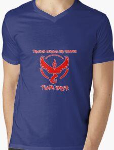 Team Valor Through Courage and Passion Pokemon Go Merchandise Mens V-Neck T-Shirt