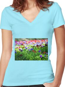 A field of cultivated colourful and vivid Anemone flowers. Photographed in Israel Women's Fitted V-Neck T-Shirt