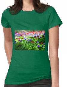 A field of cultivated colourful and vivid Anemone flowers. Photographed in Israel Womens Fitted T-Shirt