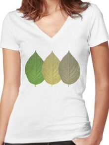 Leaf Getting Old Women's Fitted V-Neck T-Shirt