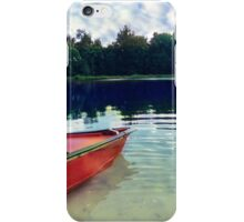 Red Boat on Rippling Lake iPhone Case/Skin