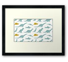 Dinosaurs silhouettes Framed Print