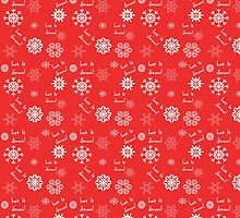 Let It Snow Red Snowflake Pattern by 2HivelysArt