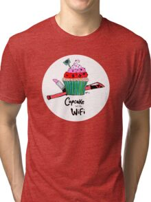 Cupcake with WiFi Tri-blend T-Shirt
