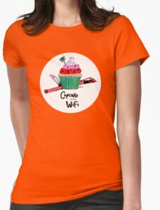 Cupcake with WiFi Womens Fitted T-Shirt