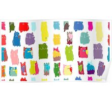 Texture with colorful cats with curved tails. Can be used for textile, website background, book cover, packaging. Poster