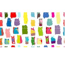 Texture with colorful cats with curved tails. Can be used for textile, website background, book cover, packaging. Photographic Print